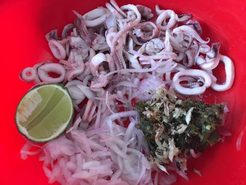 ingredient for spicy squid salad