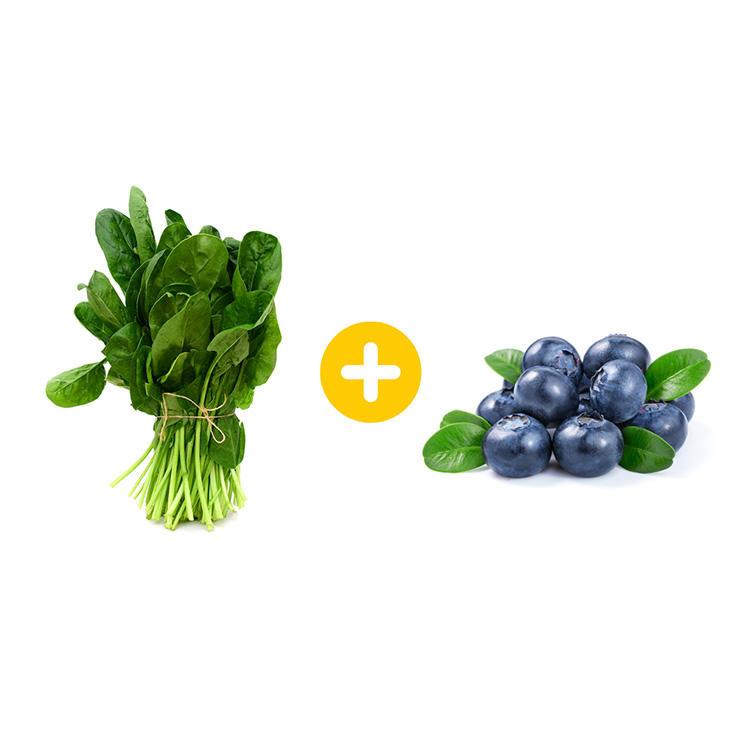 spinach-blueberries