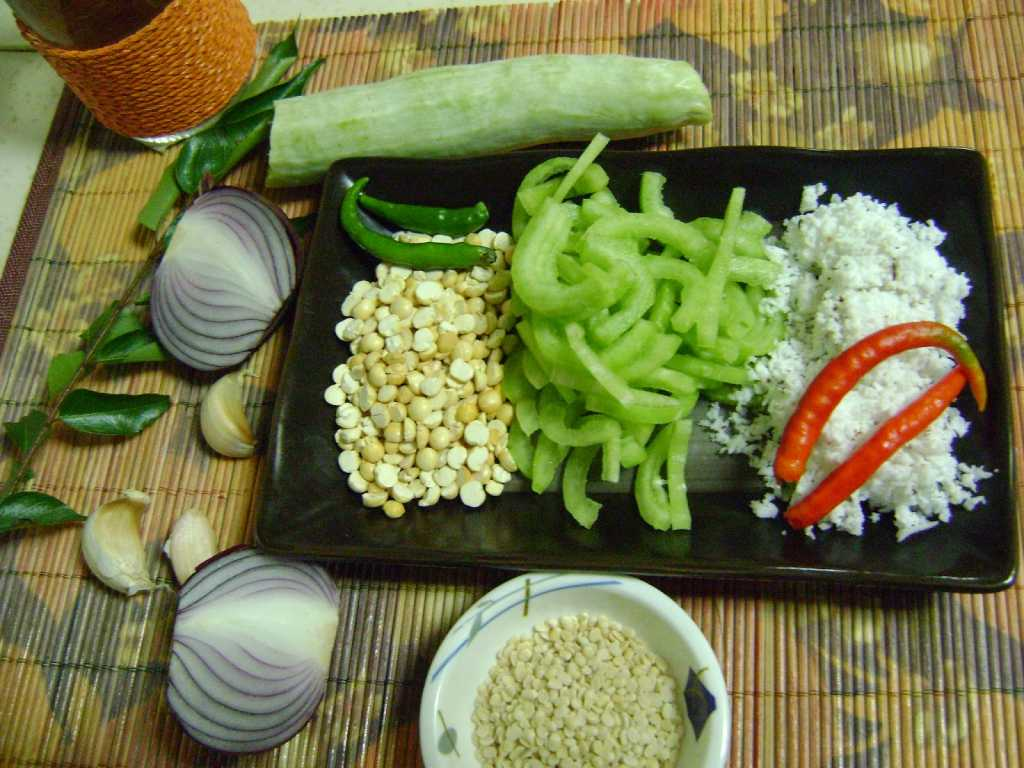 Snake Gourd Fry - Andhra Style Ingredients