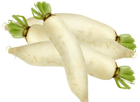 fresh white radishes on a white background
