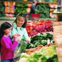 Woman and Kid buying Vegetables
