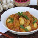 ငံုးဥ အာလူးငပိခ်က္, Quail Egg and Potato with Shrimp Paste Spicy Curry