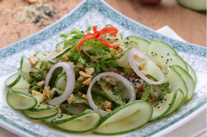 Spicy Cucumber with Nuts Salad