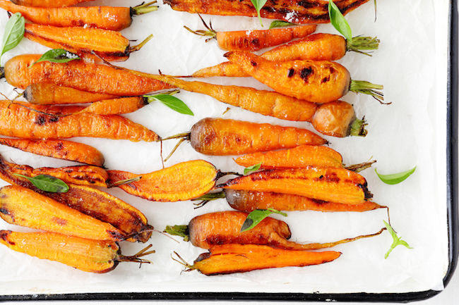roasted carrots on white platter