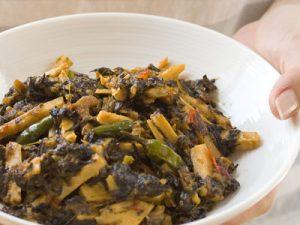 Fried Roselle Leaves (Chin Baung Kyaw)