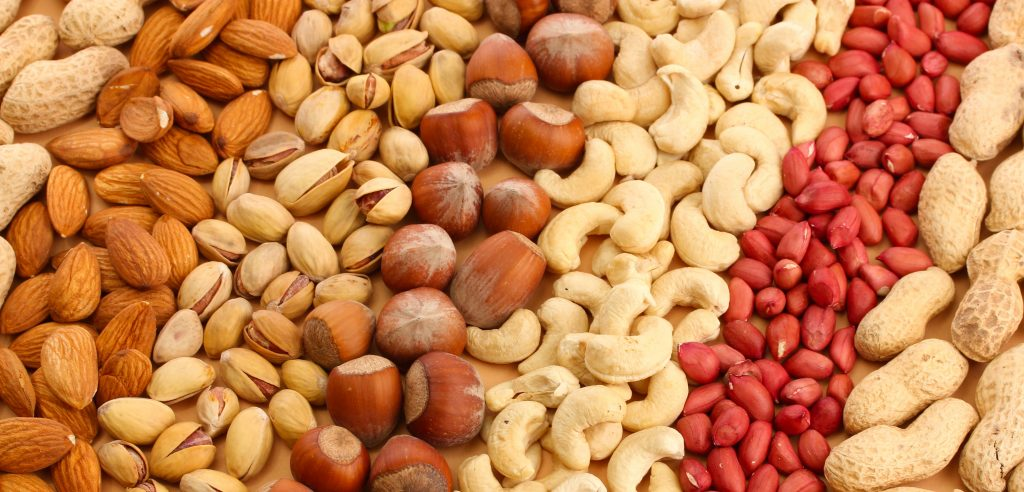 assortment of tasty nuts, close up