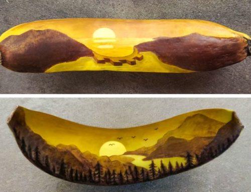 မှင်နဲ့ ဆေးရောင်စုံများ အသုံးမပြုဘဲ ငှက်ပျောသီးပေါ်မှာ ပန်းချီရေးဆွဲခဲ့တဲ့ ငှက်ပျောသီးပန်းချီများ